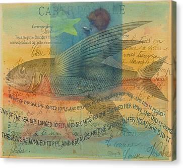 Ephemera Canvas Print - Mermaid Flying Fish Inspirational Sea Quote by Rebecca Korpita