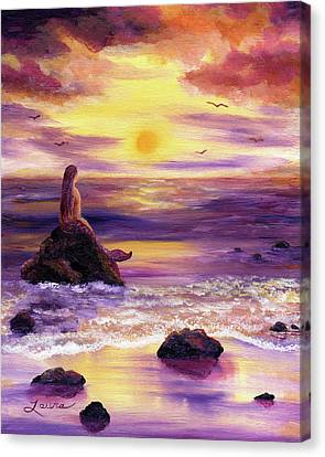 Fantasy Creatures Canvas Print - Mermaid In Purple Sunset by Laura Iverson
