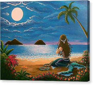 Mermaid Making Leis Canvas Print by Gale Taylor