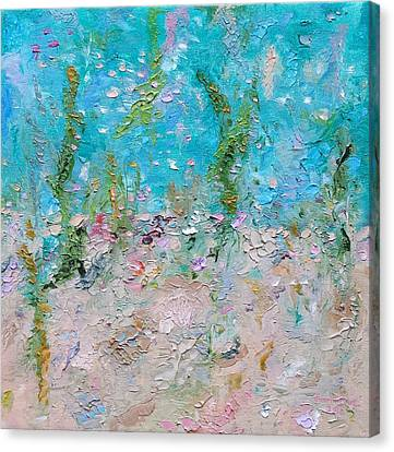 Canvas Print featuring the painting Mermaid Meditation by Judith Rhue