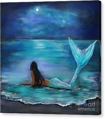 Laying On Stomach Canvas Print - Mermaid Moon And Stars by Leslie Allen