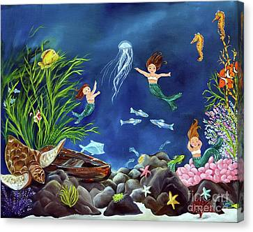 Canvas Print featuring the painting Mermaid Recess by Carol Sweetwood