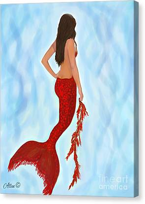 Canvas Print featuring the painting Mermaid Ruby by Leslie Allen