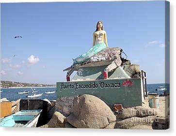 Canvas Print - Mermaid Statue Puerto Escondido Oaxaca Mexico by Linda Queally