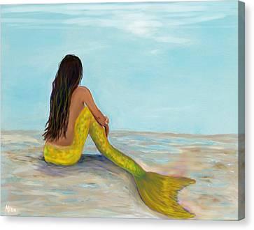 Mermaid Sunny Canvas Print by Leslie Allen