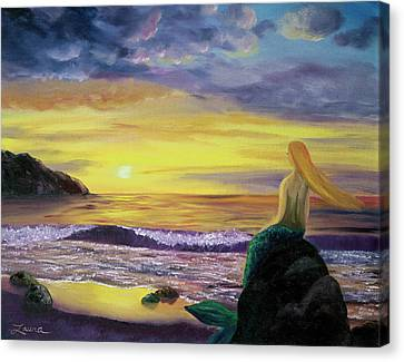 Mermaid Sunset Canvas Print by Laura Iverson