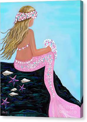 Canvas Print featuring the painting Mermaid Sweetie by Leslie Allen