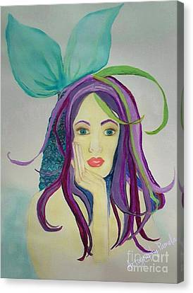 Mermaid With Mardis Gras Hair Canvas Print by ARTography by Pamela Smale Williams