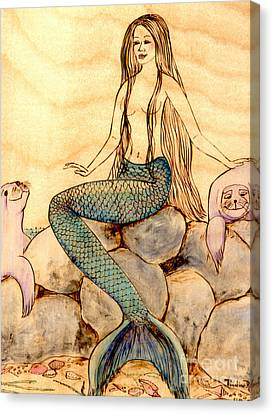 Mermaid With Seals Canvas Print by Pauline Ross