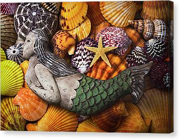 Mermaid With Starfish Canvas Print by Garry Gay