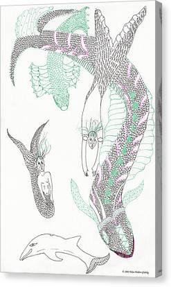 Mermaids And Sea Dragons Canvas Print