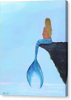 Canvas Print featuring the painting Mermaids Bundle To Be by Leslie Allen