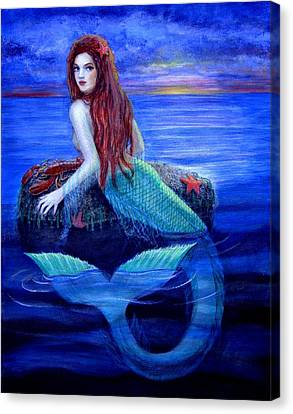 Mermaid's Dinner Canvas Print by Sue Halstenberg