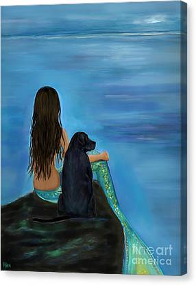 Canvas Print featuring the painting Mermaids Loyal Bud by Leslie Allen