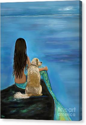 Canvas Print featuring the painting Mermaids Loyal Buddy by Leslie Allen