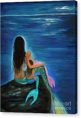 Canvas Print featuring the painting Mermaids Sweet Little Girls by Leslie Allen