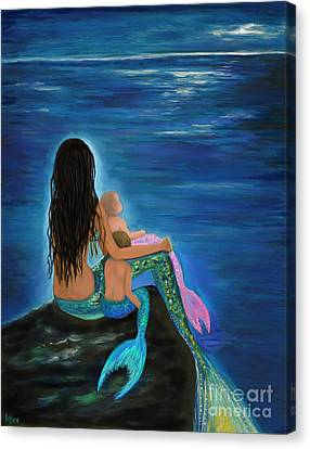 Canvas Print featuring the painting Mermaids Sweet Little Ones by Leslie Allen