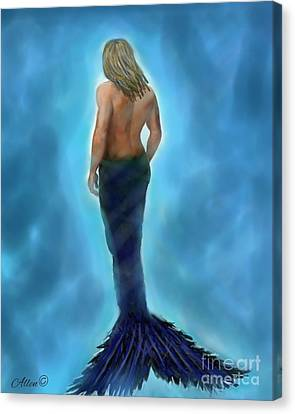 Canvas Print featuring the painting Merman Majestic by Leslie Allen
