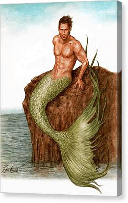 Merman On The Rocks Canvas Print by Bruce Lennon
