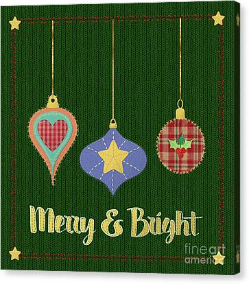 Merry And Bright Knit Stitched Folk Art Canvas Print by Tina Lavoie
