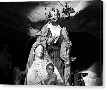 Merry Christmas - Black And White Canvas Print