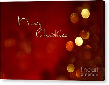 Merry Christmas Card - Bokeh Canvas Print