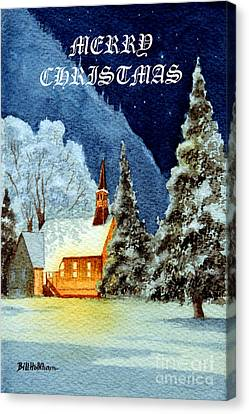 Canvas Print featuring the painting Merry Christmas Card Yosemite Valley Chapel by Bill Holkham