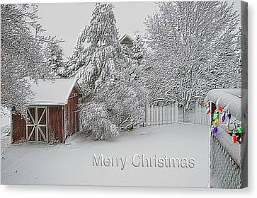Merry Christmas Fresh Snow Fall In March Canvas Print by Thomas Woolworth