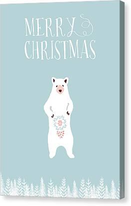 Merry Christmas Funky Bear Canvas Print by Amanda Lakey