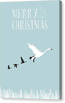 Merry Christmas Funky Geese Canvas Print by Amanda Lakey