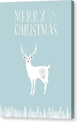 Merry Christmas Funky Stag Canvas Print by Amanda Lakey