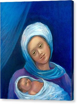 Canvas Print featuring the painting Merry Christmas by Laila Awad Jamaleldin