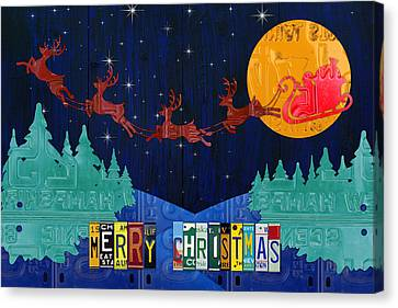Merry Christmas Santa And His Sleigh Recycled Vintage License Plate Art Canvas Print