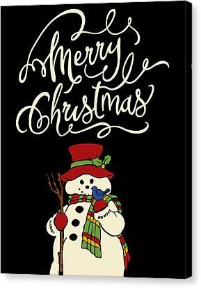 Merry Christmas Snowman Canvas Print