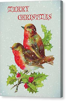 Merry Christmas Snowy Bird Couple Canvas Print by Sandi OReilly