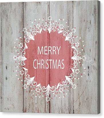 Merry Christmas Stencil Canvas Print by Suzanne Carter