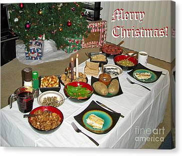 Merry Christmas- Traditional Lithuanian Christmas Eve Dinner Canvas Print by Ausra Huntington nee Paulauskaite