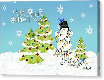 Merry Christmas Typography Snowman W Christmas Trees N Blue Birds Canvas Print