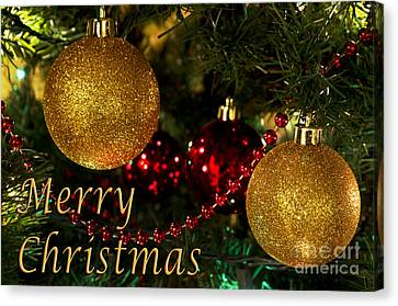 Merry Christmas With Gold Ball Ornaments Canvas Print