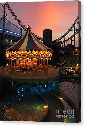 Merry-go-round At Sunset Canvas Print