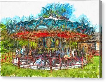 Merry Go Round Pencil Canvas Print by Edward Fielding