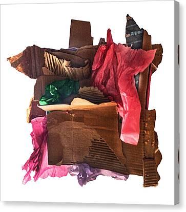 Cardboard Canvas Print - Merry Xmas Cardboard by Stan  Magnan
