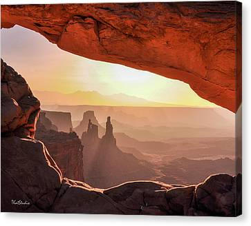 Mesa Arch At Sunrise, Washer Woman Formation , Canyonlands National Park, Utah Canvas Print
