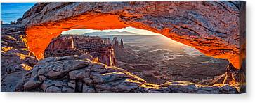 Mesa Arch Sunrise - Canyonlands National Park Panoramic Composite Photograph Canvas Print by Duane Miller