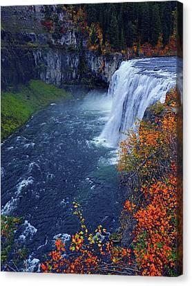 Mesa Falls In The Fall Canvas Print
