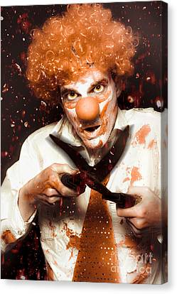 Messy Homicidal Clown In Bloody Horror Massacre Canvas Print by Jorgo Photography - Wall Art Gallery
