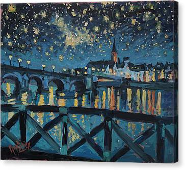 Mestreechter Staarenach Staryy Night Maastricht Canvas Print by Nop Briex