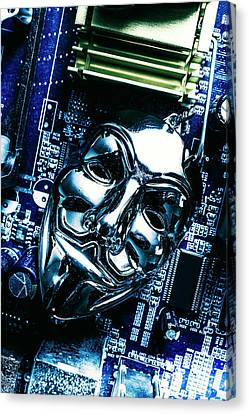 Metal Anonymous Mask On Motherboard Canvas Print by Jorgo Photography - Wall Art Gallery