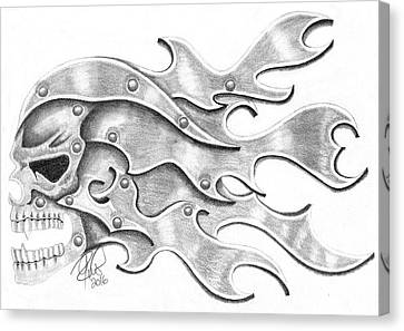 Metal Effect Skull Canvas Print by Joce Ruston