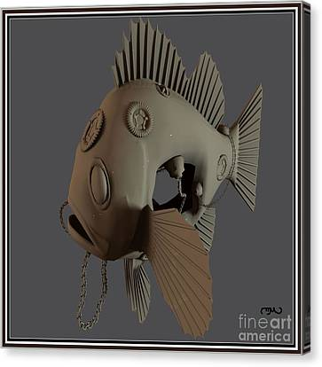 Bas Relief Canvas Print - Metal Fish 15mf1 by Pemaro